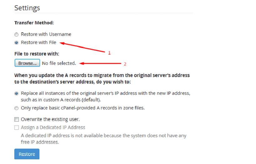 چگونگی بازگرداندن نسخه پشتیبان در cPanel / WHM