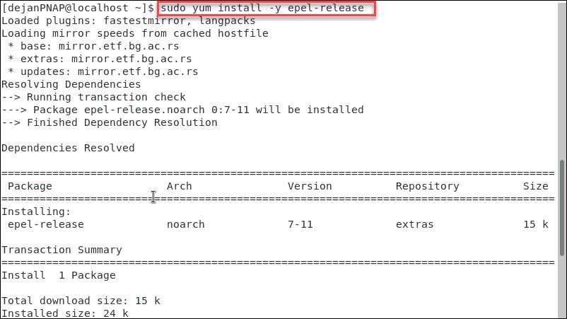 نصب پکیج های اضافی برای Enterprise Linux (EPEL)