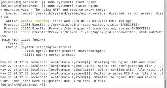 شروع سرویس Nginx